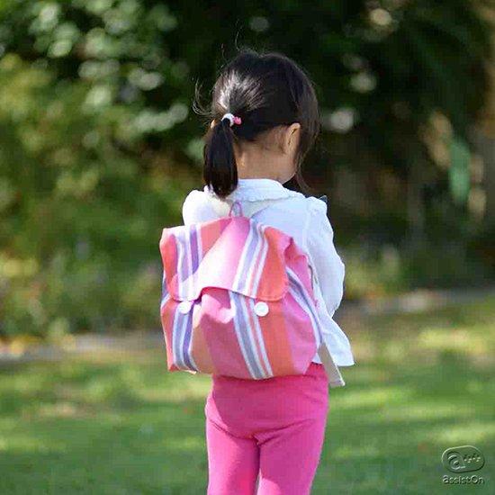 小さな子供たちの「自分のモノは自分で持ちたい!」を応援します。最高品質の先染め織物を使った、30年もの伝統がある、こども専用のリュック