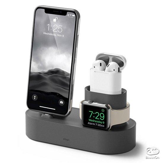 AirPods・AppleWatch・iPhonenの3つのデバイスをコンパクトに充電。お出かけの時もすぐ準備ができて、充電忘れも防ぎます。